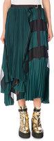 Sacai Pleated Two-Tone Midi Skirt, Green