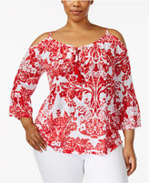 INC International Concepts Plus Size Printed Cold-Shoulder Peasant Top, Created for Macy's