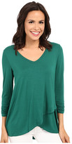 Karen Kane Ruched Sleeve Asymmetrical Hem Top