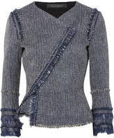 Roland Mouret Kirkham Cotton-blend Bouclé-tweed Jacket - Navy