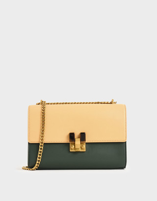 Charles & Keith Two-Tone Stone Embellished Clutch