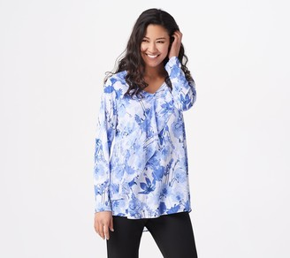 Susan Graver Printed Liquid Knit Tunic with Chiffon Ruffle and Peplum