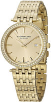 Stuhrling Original Sthrling Original Womens Crystal-Accent Gold-Tone Stainless Steel Watch