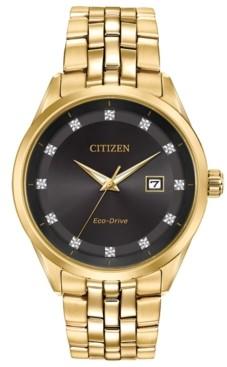 Citizen Men's Eco-Drive Corso Diamond-Accent Gold-Tone Stainless Steel Bracelet Watch 41mm