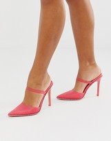 Asos DESIGN Power Up studded high heeled mules in pink