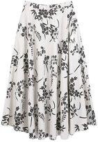 Smartstar Women Elegant Cotton Linen Printed A Line Pleated Long Skirt