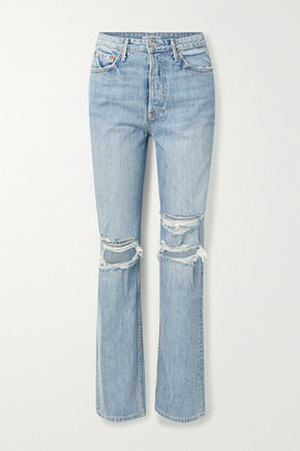 GRLFRND Mica Distressed High-rise Straight-leg Jeans - Light denim
