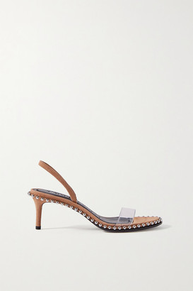 Alexander Wang Nova Low Studded Suede And Pvc Slingback Sandals - Light brown