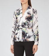 Reiss New Collection Maria Printed Twist-Front Top