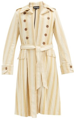 Ann Demeulemeester Striped Cotton-blend Twill Trench Coat - Beige