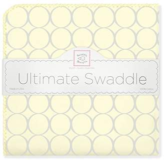 Swaddle Designs Ultimate Swaddle Blanket, Premium Cotton Flannel, Sterling Mod Circles on Sunwashed Yellow