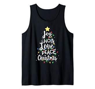 Buffalo David Bitton Joy Hope Love Peace Christmas Tree Plaid Xmas Tank Top