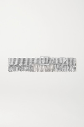 Black & Brown Fringed Silver-tone Crystal Belt