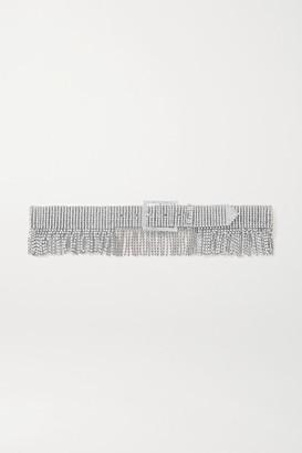 Black & Brown Net Sustain Fringed Silver-tone Crystal Belt