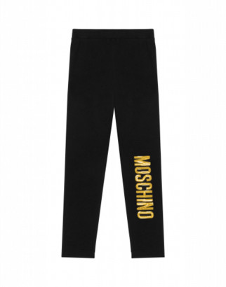 Moschino Leggings With Sequin Logo Woman Black Size 4a It - (4y Us)
