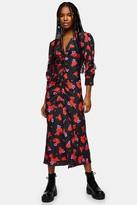 Topshop Womens Floral Print V Neck Ruched Midi Dress - Multi