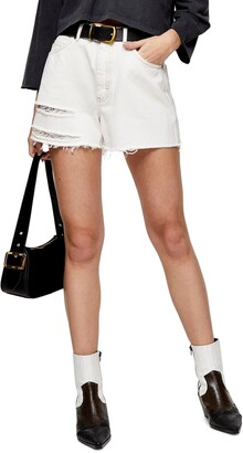 Topshop A-Line Ripped Denim Shorts