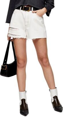 A-Line Ripped Denim Shorts