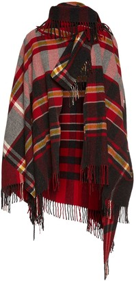 Vivienne Westwood Tartan Wool Blanket Cape W/ Fringes