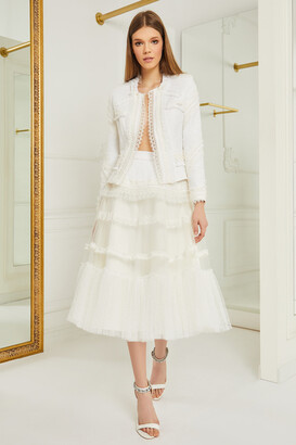 Cristallini French Tweed Long Sleeve Jacket and Midi Skirt