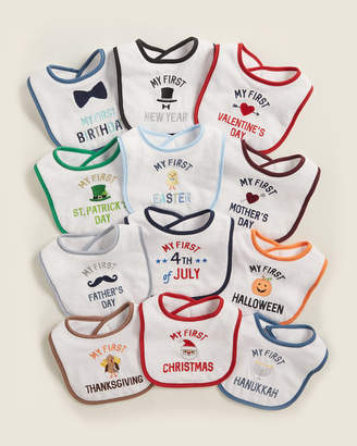 Hudson Baby Newborn/Infant Boys) 12-Pack Holiday Drooler Bibs