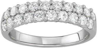 Charles & Colvard 14k White Gold 1 Carat T.W. Lab-Created Moissanite Two-Row Wedding Band