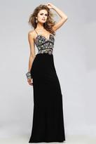 Faviana s7718 Jersey v-neck evening dress with colorful beaded bodice