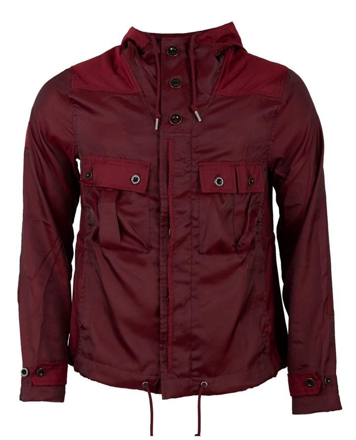 Pretty Green Iridescent Hooded Jacket Colour: BURGUNDY, Size: SMALL