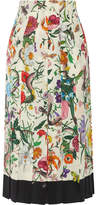 Gucci Pleated Floral-print Silk Crepe De Chine Midi Skirt - Cream