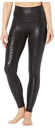 Beyond Yoga High Waisted Midi Leggings (Black/Shiny Black Leopard) Women's Casual Pants
