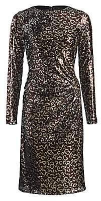 Teri Jon by Rickie Freeman Women's Sequin Leopard Print Sheath Dress