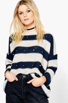 Boohoo Freya Stripe Embellished Jumper