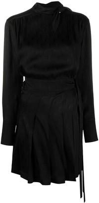 Victoria Victoria Beckham Tied-Waist Pleated Short Dress