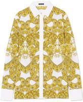 Versace Printed Silk Crepe De Chine Shirt - White