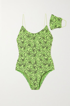 Leslie Amon Allegra Metallic Neon Floral-jacquard Swimsuit - Bright green