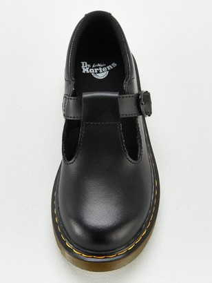 Dr. Martens Girls Polley T Bar School Shoes - Black