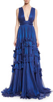 Maria Lucia Hohan Rianna Plunging Ruffled Cross-Back Gown, Cobalt