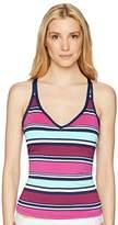 Jag Women's Variegated Stripe Criss Cross Back Tankini