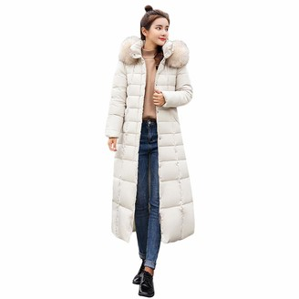 JERFER Womens Casual Fashion Winter Warm Hooded Coat Long Cotton Padded Jackets Pocket Coats