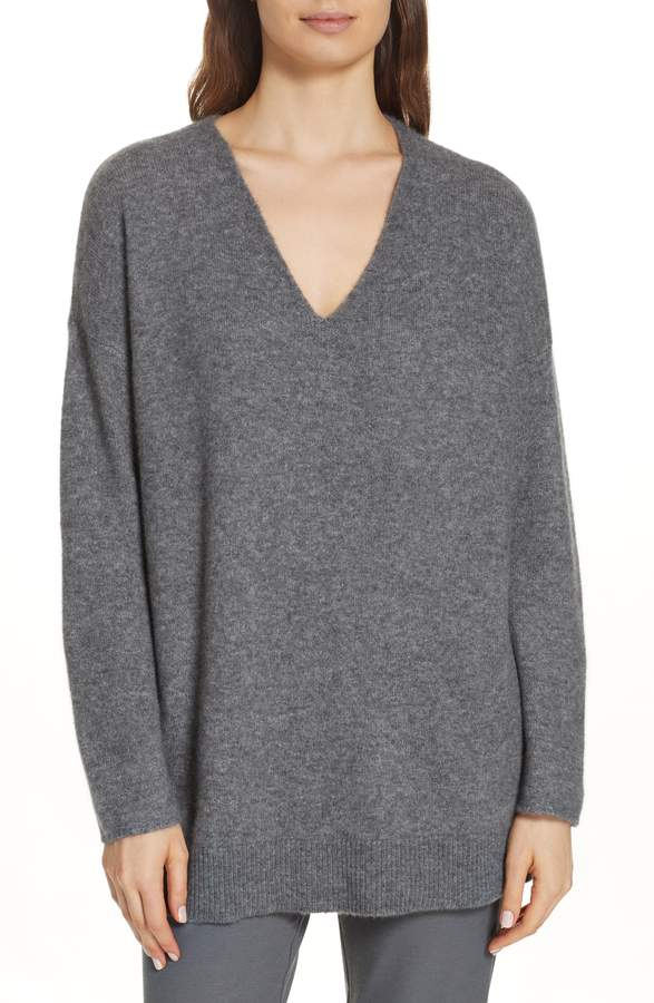 Eileen Fisher Elongated Cashmere Blend Sweater