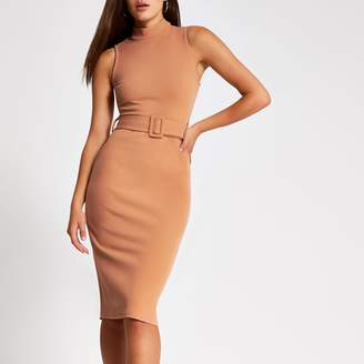 River Island Womens Beige high neck belted bodycon midi dress