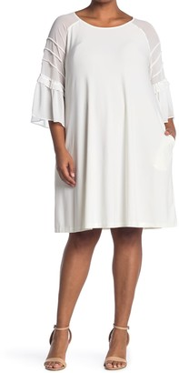 Nina Leonard Jewel Neck 3/4 Sleeve Raglan Chiffon Dress
