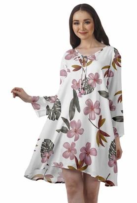 Moomaya Rayon Flared Dress for Womens Long Sleeve Printed V-Neck Casual Beach Dress for Girls