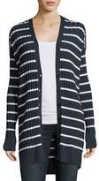 Alexander Wang Striped Ribbed Long Cardigan Sweater