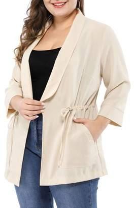 BEIGE Unique Bargains Women's Plus Size Work Open Front Drawstring Lightweight Jacket
