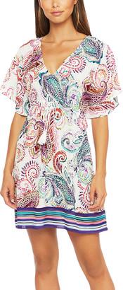 Lauren Ralph Lauren Women's Swimsuit Coverups wht - White Paisley Flutter-Sleeve Empire-Waist Dress - Women & Juniors