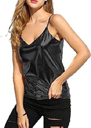 DIGITAL SPOT Womens Wet Look Shiny Cami Top Ladies PU Leather Sleeveless Camisole Vest Top Black UK 16-18