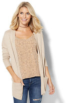 New York & Co. Ribbed-Knit Open-Front Cardigan - Marled - Tall