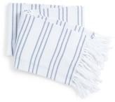 Melange Home Yarn-Dyed Triple Stripe Throw - Denim Blue