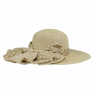 By Neki Womens Straw Sun Hat Foldable Adjustable Large Bow Know Polka Dot Wide Brim Floppy Summer Beach Hat Bow Knot Sun Visor UK (Natural)